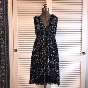 H&M // Black Twilight Zone Hi-Lo Dress Sz 10